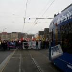 Blockade einer Straßenbahn in Mannheim